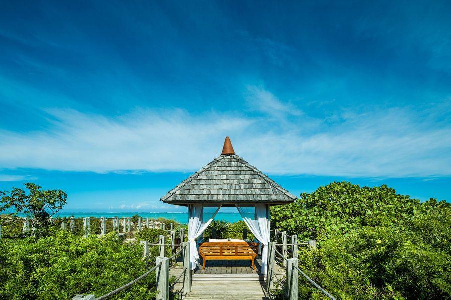 Un coin de détente près du restaurant le Lotus del'hôtel Como Parrot Cay.