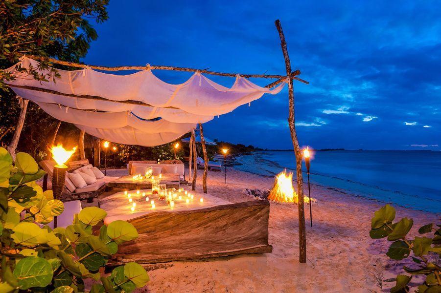 La plage devant devant The Sanctuary, la villa de Donna Karan àl'hôtel Como Parrot Cay.