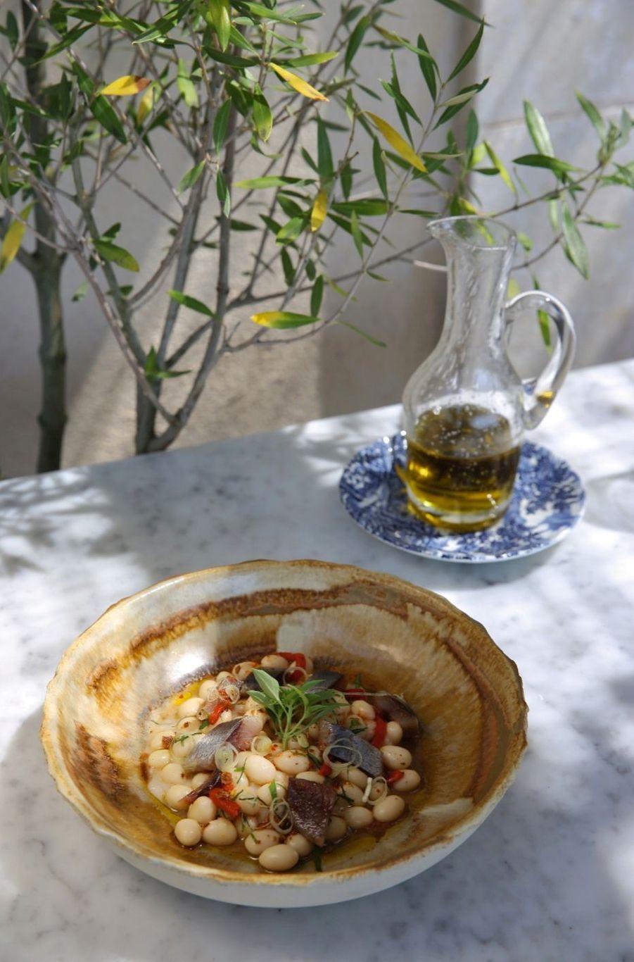 Salade de haricots cocos de Haute-Provence, sardine mi-fumée signée JeanFrançois Pièg