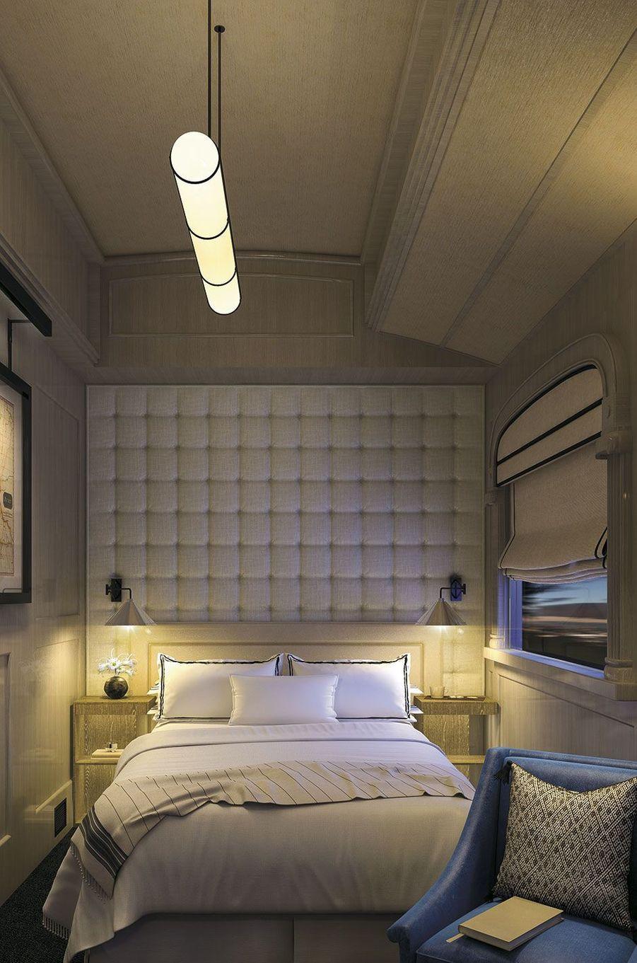 """La cabine """"suite"""" du train Belmond."""