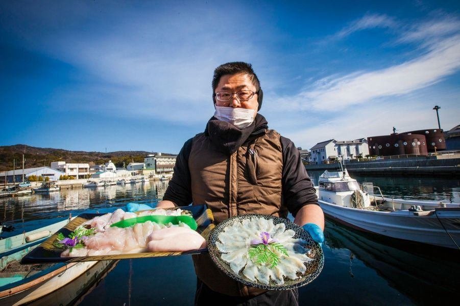 Le fugu est essentiellement préparé en sashimi.
