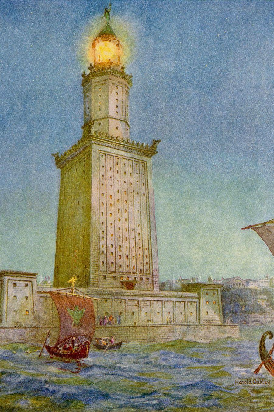 Peinture du phare d'Alexandrie (Égypte).