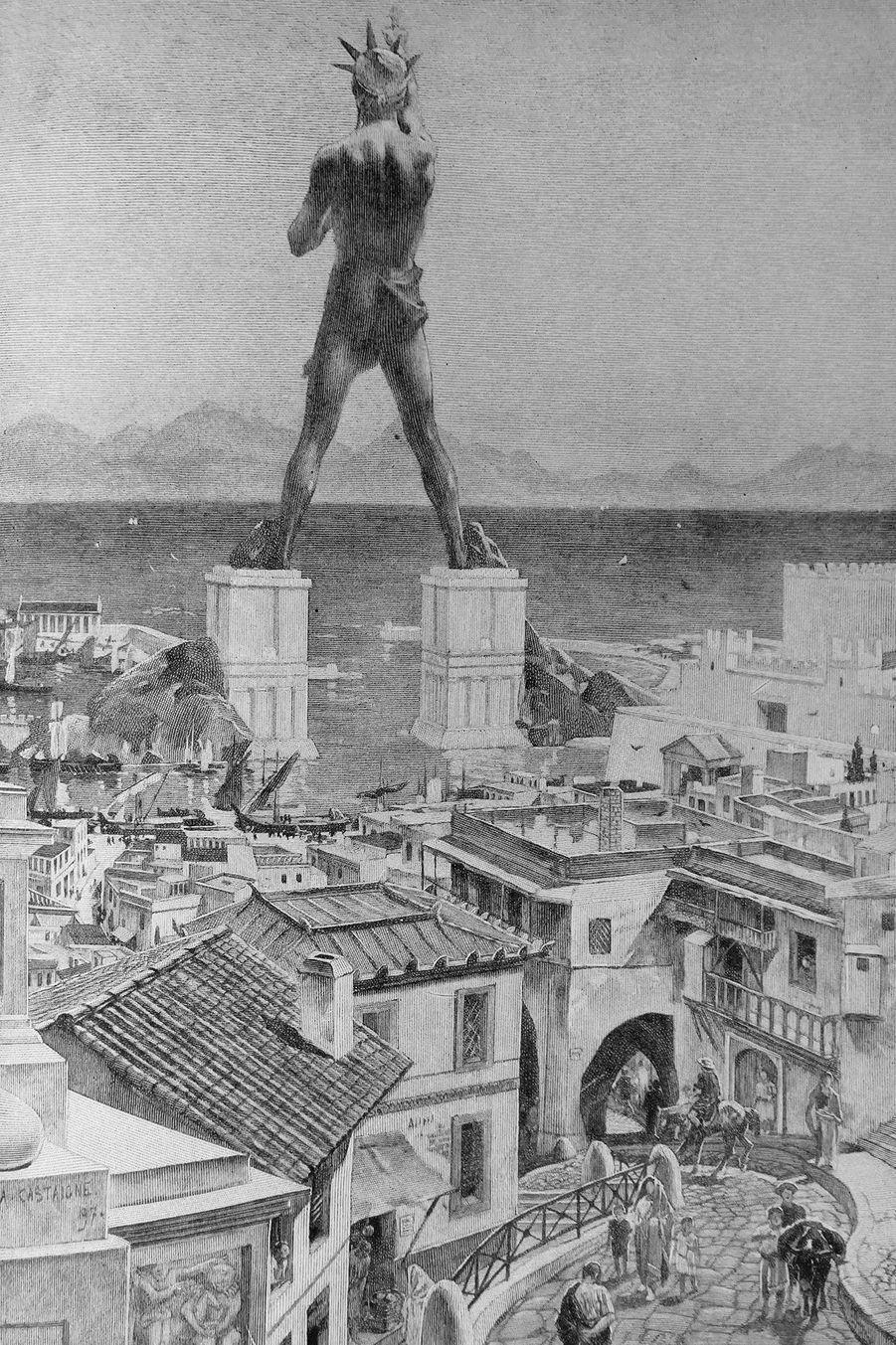 Gravure représentant le colosse de Rhodes (Grèce).
