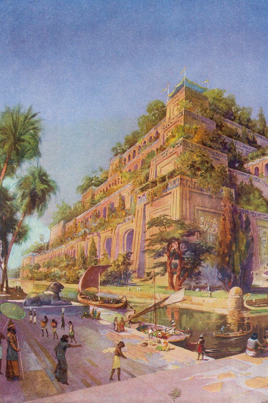 Dessin des Jardins suspendus de Babylone en Mésopotamie (Irak actuel).