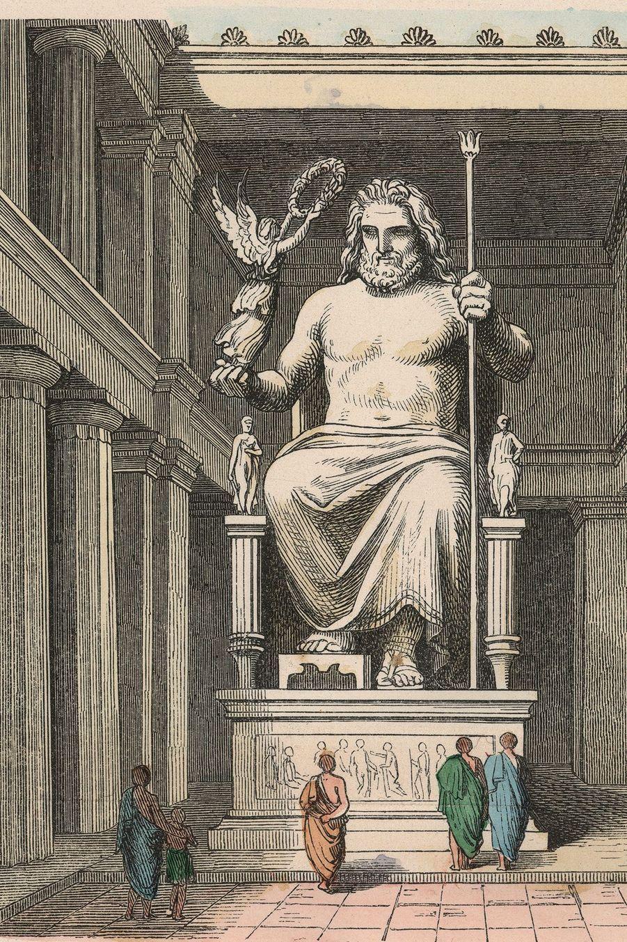 Représentation de la statue chryselephantine de Zeus dans le temple d'Olympie, oeuvre du sculpteur athénien Phydias.