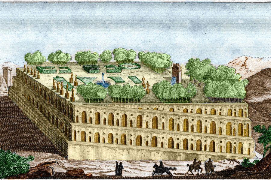 Les jardins suspendus de Babylone, illustrés par une gravure de 1829.