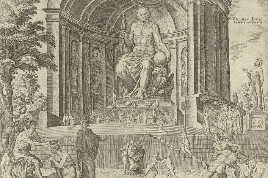 Dessin de la statue de Zeus à Olympie, en Élide (Grèce) par Hadrianus Junius, 1572.