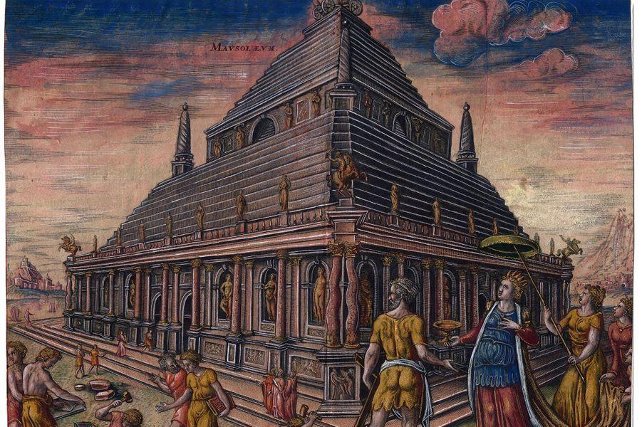 Peinture du tombeau de Mausole, à Halicarnasse, en Carie (Turquie actuelle) parMaarten van Heemskerck, en 1572.