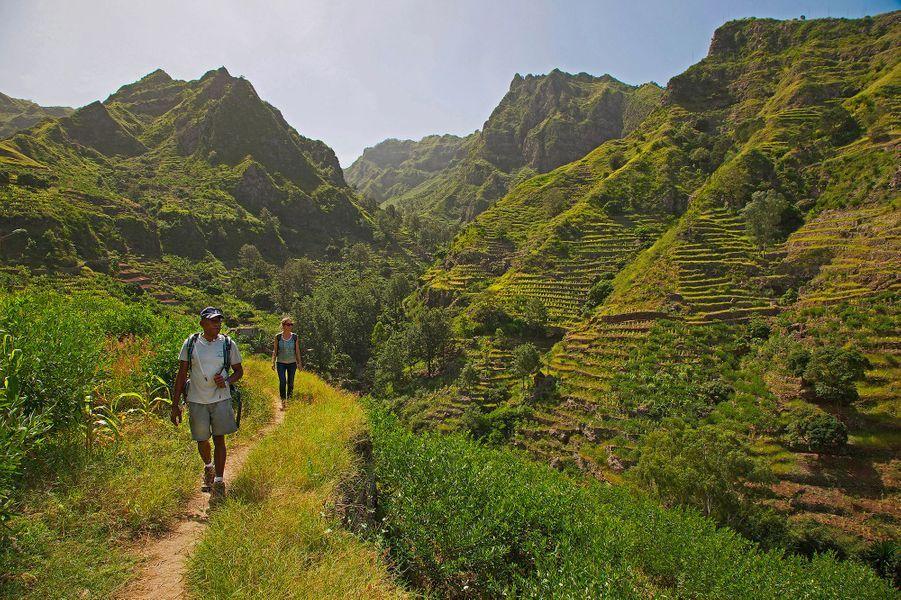 Les montagnes vertes de l'île de Santo Antao, Cap Vert.
