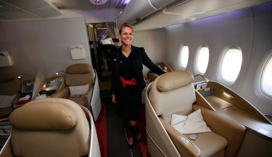 Le premier A380, énorme avion pouvant transporter plus de 500 personnes, a été livré à Air France. Pour le plaisir des yeux, mais pas du porte-feuille, voici les futures classes affaires.