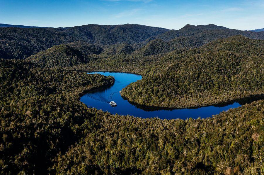 Les méandres de la Gordon River s'entremêlent au coeur de la forêt.