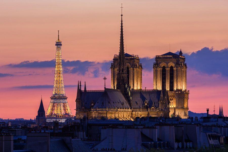 Tour Eiffel, cathédrale Notre de Dame en 1er plan, Paris.