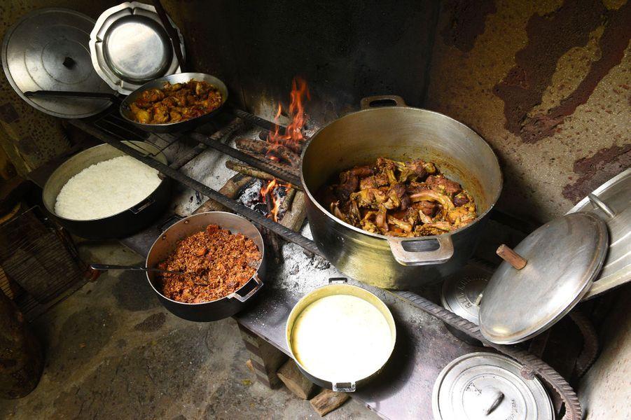 Caris cuits au feu de bois