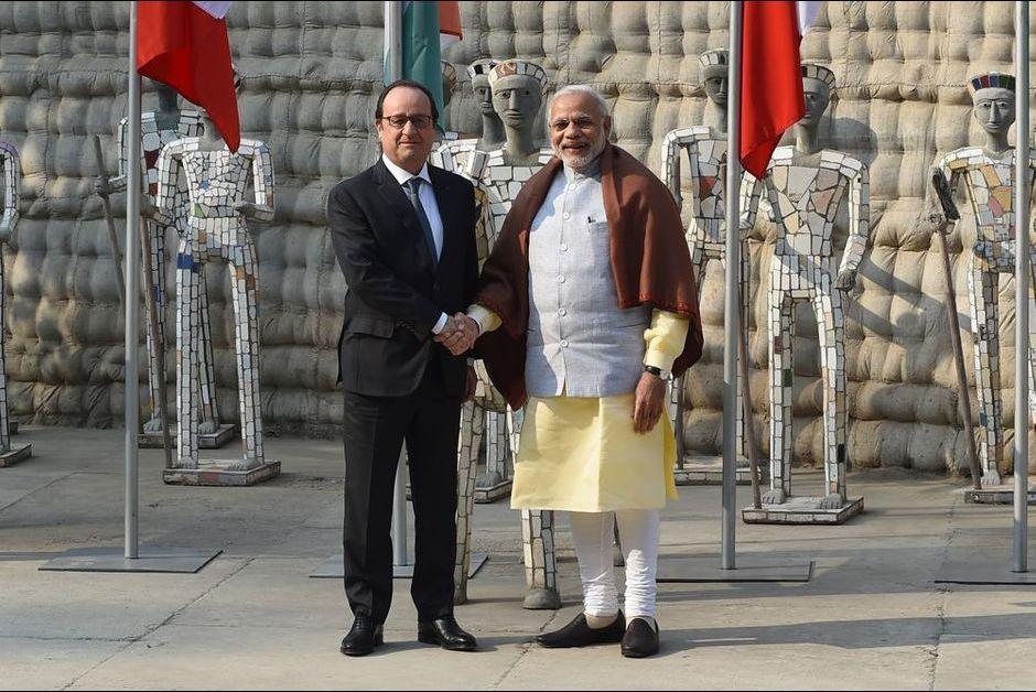 François Hollande avec le Premier ministre indien, Narendra Modi