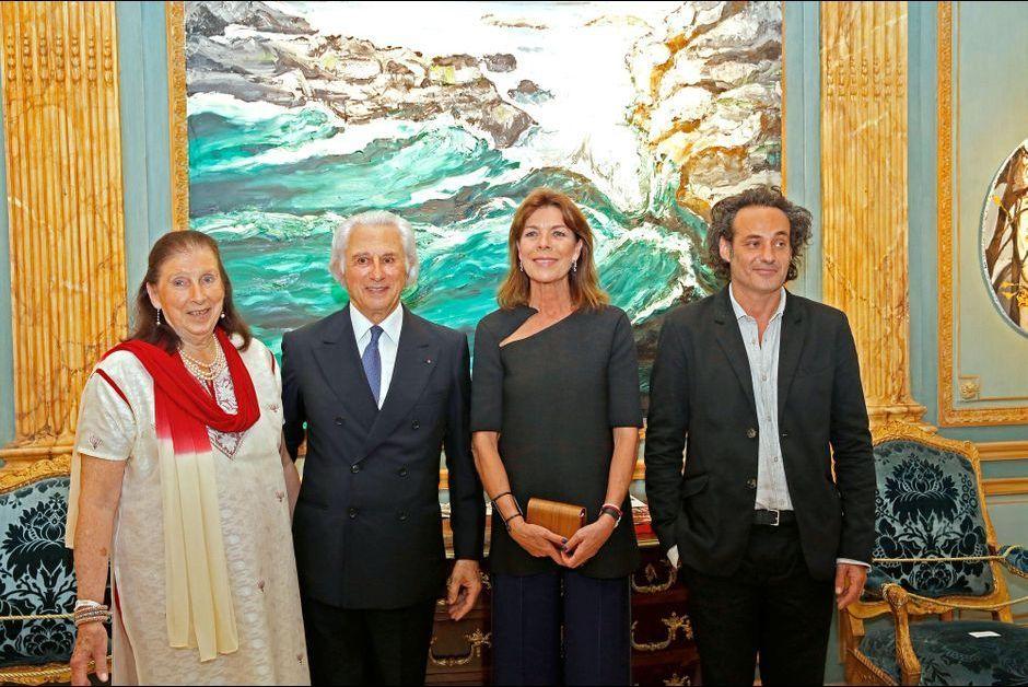 La princesse Caroline de Hanovre avec Adriano Ribolzi, sa femme et Fred Kleinberg à Monaco, le 16 septembre 2015
