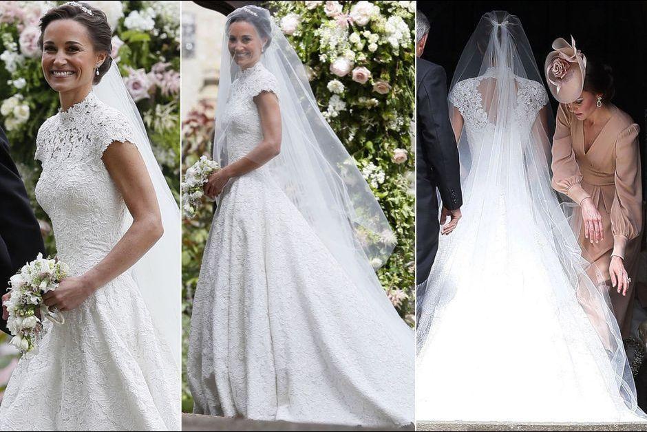 robe de mariée en dentelle dos découpé Pipa Middleton