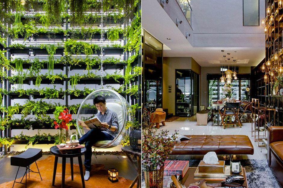 Un jardin vertical de 7 5 m tres de haut une maison de for Ascenseur interieur maison prix