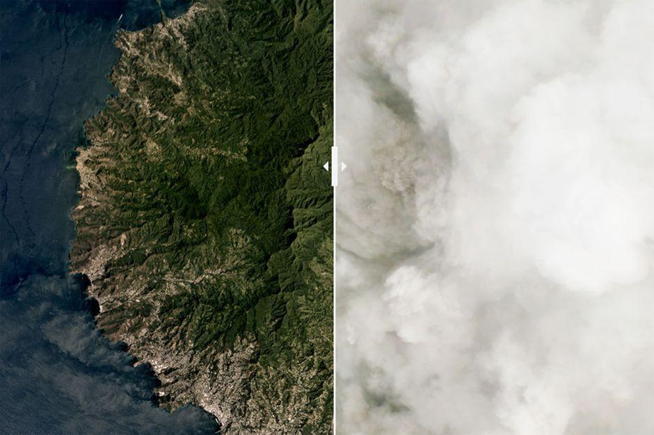 les images du volcan vues du ciel