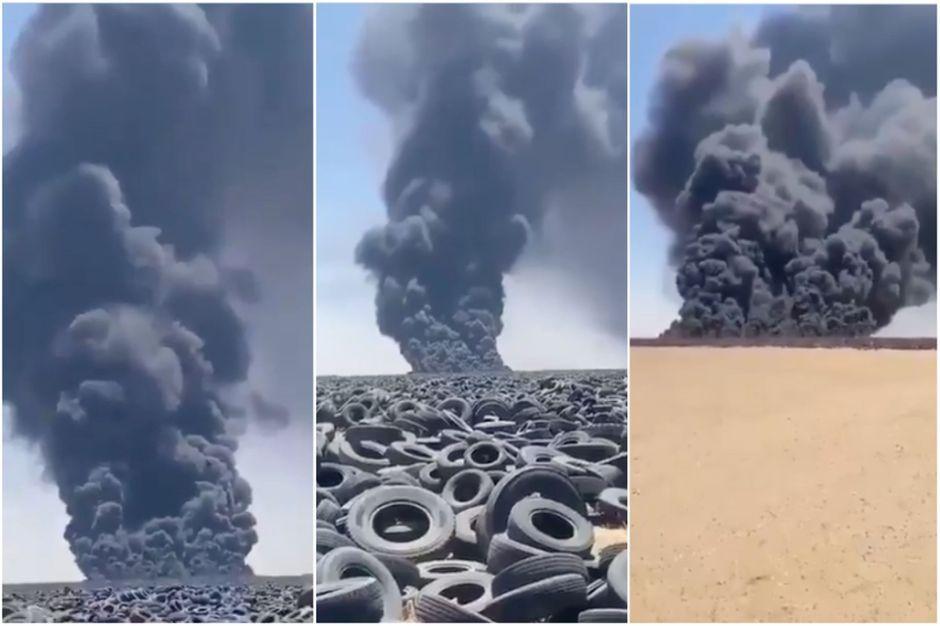 La plus grande décharge de pneus au monde est en flammes