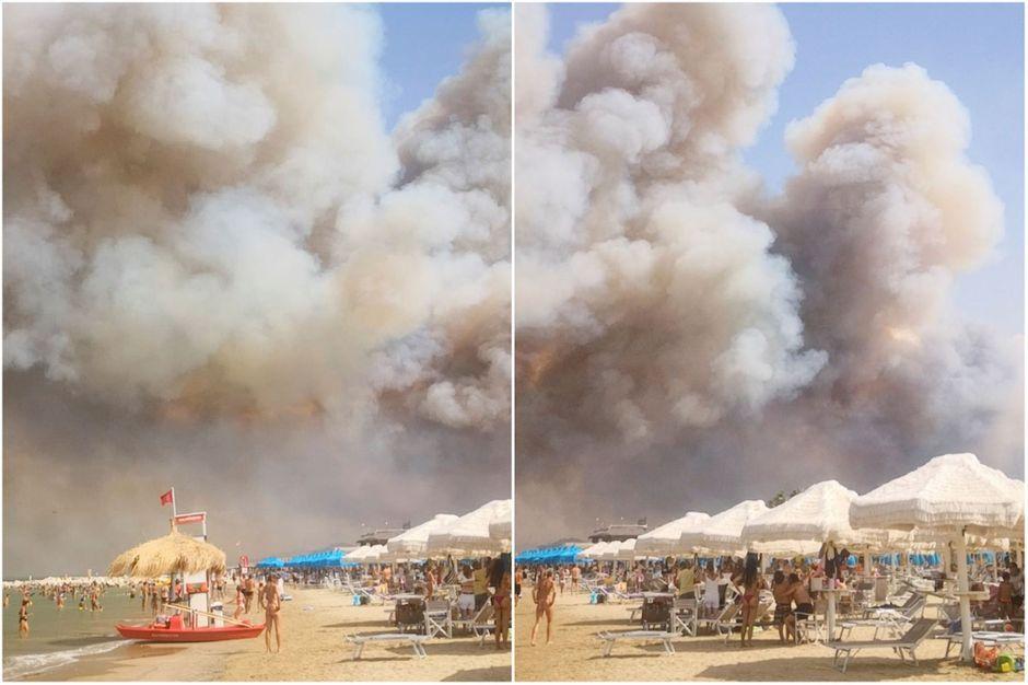Panique sur une plage italienne, les touristes fuient les flammes devant un incendie