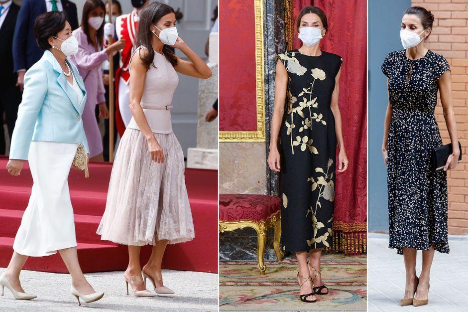 Reine Letizia d'Espagne, retour sur ses trois looks pour ses hôtes sud-coréens
