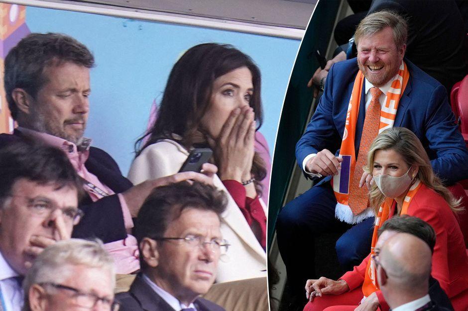 La princesse Mary de Danemark inquiète et la reine Maxima des Pays-Bas joyeuse dans les tribunes avec leurs époux pour l'Euro