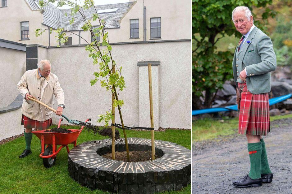 Vêtu d'un kilt, le prince Charles en visite à Caithness en Ecosse